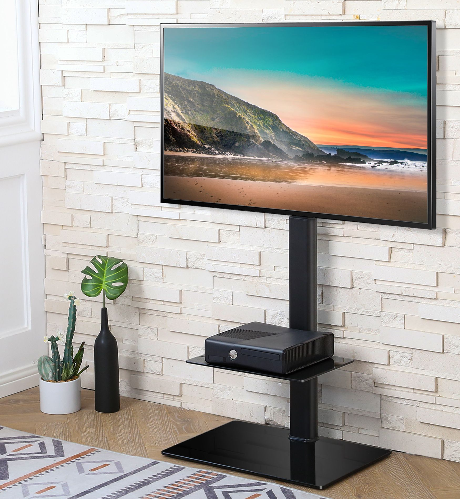 Fitueyes Height Adjustable Black Floor Tv Stand For Tvs Up To 65 With Swivel Mount Tt206001gb Walmart Com Tv Stand Height Adjustable Black Floor