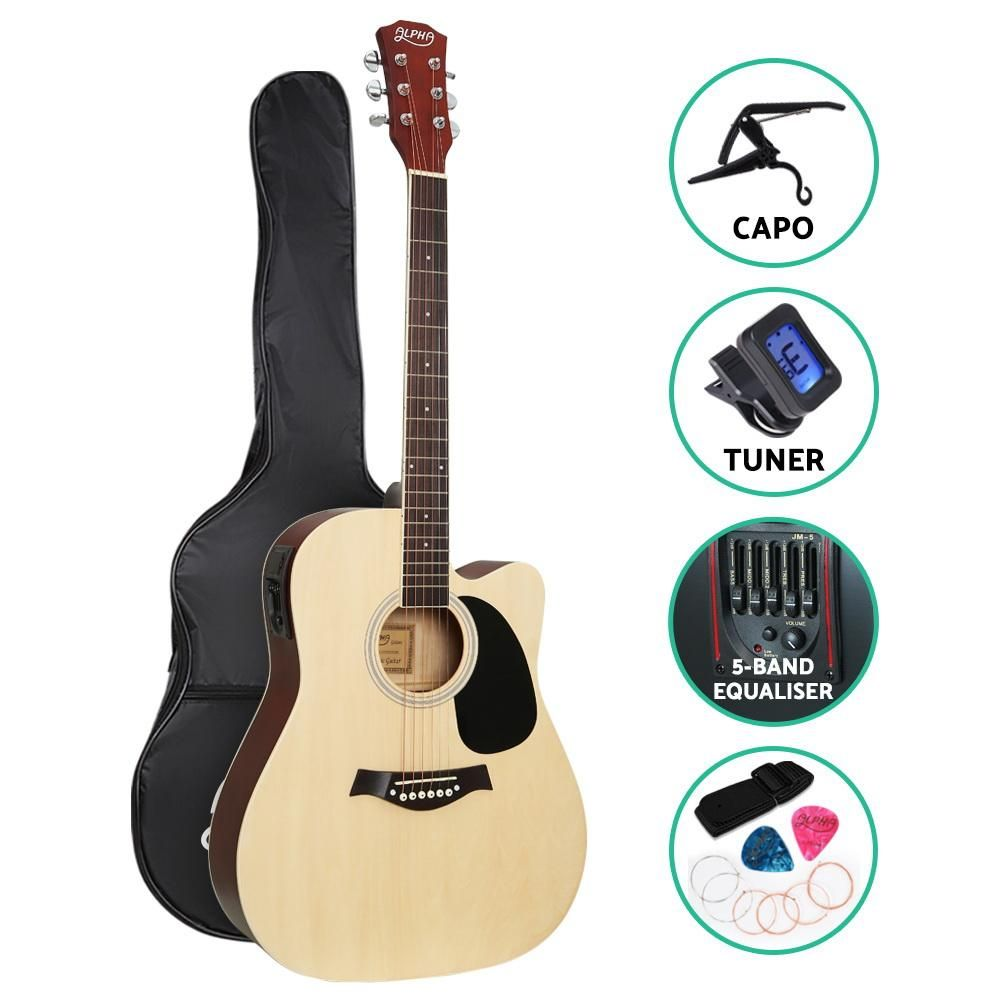 Alpha 41 Inch Electric Acoustic Guitar Wooden Classical With Pickup Capo Tuner Bass Natural Acoustic Electric Guitar Acoustic Guitar For Sale Acoustic Guitar