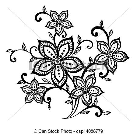 Vector Beautiful Black And White Floral Pattern Design Element Stock Illustration Royalty Free Floral Pattern Design Tattoo Pattern Flower Tattoo Designs