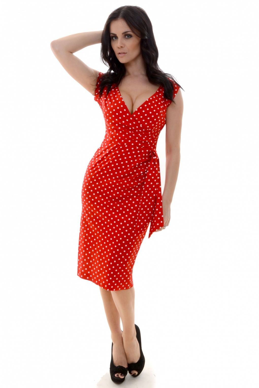 So Couture - Red Polka Hourglass Vintage Pencil dress   flattering ...