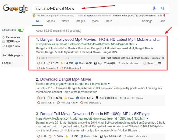 Search For Movie Names Along With An Extension On The Url In 2020 Movies Dangal Movie Google Tricks