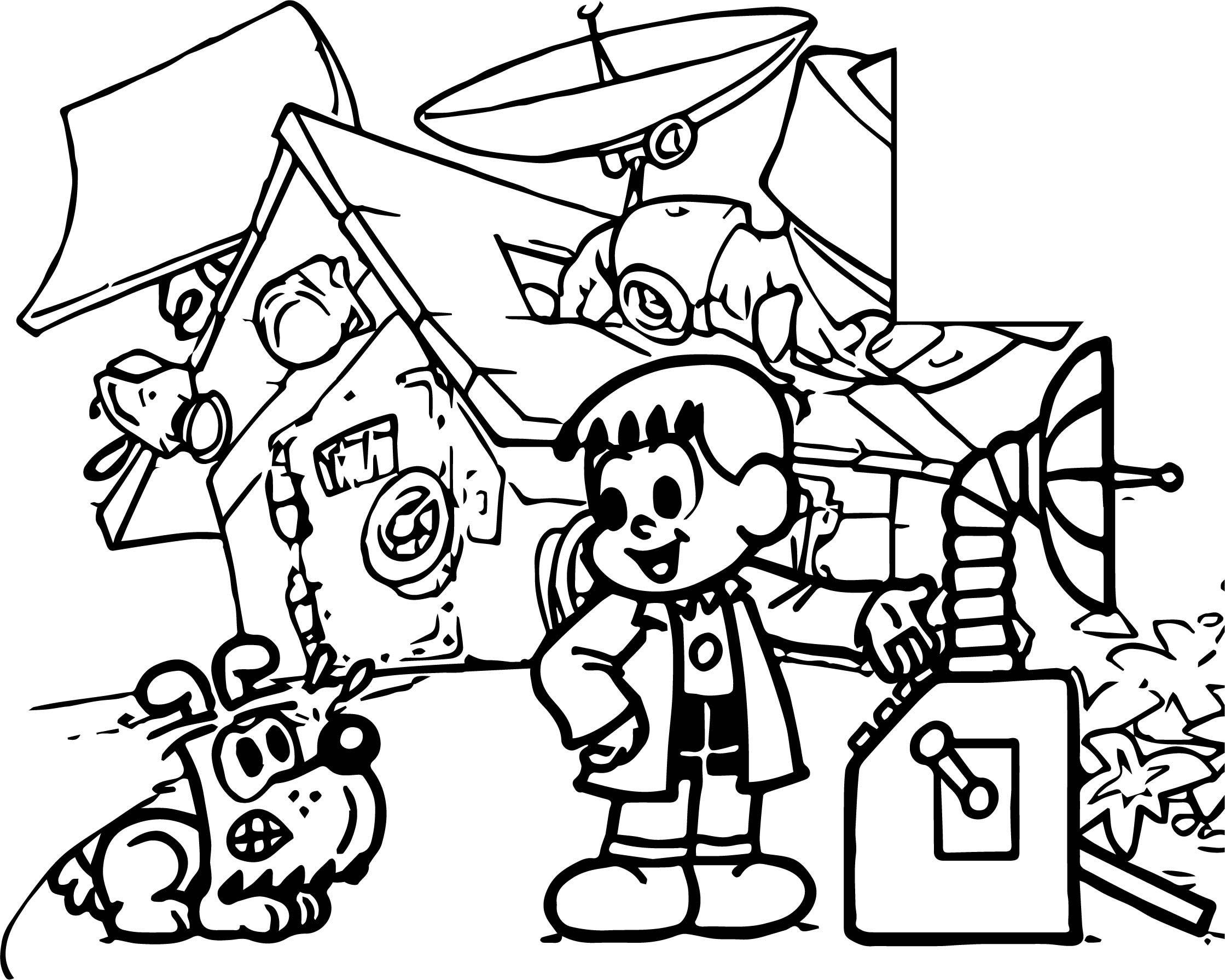 Cool Turma Da Monica Boy Professor Time Machine Coloring Page
