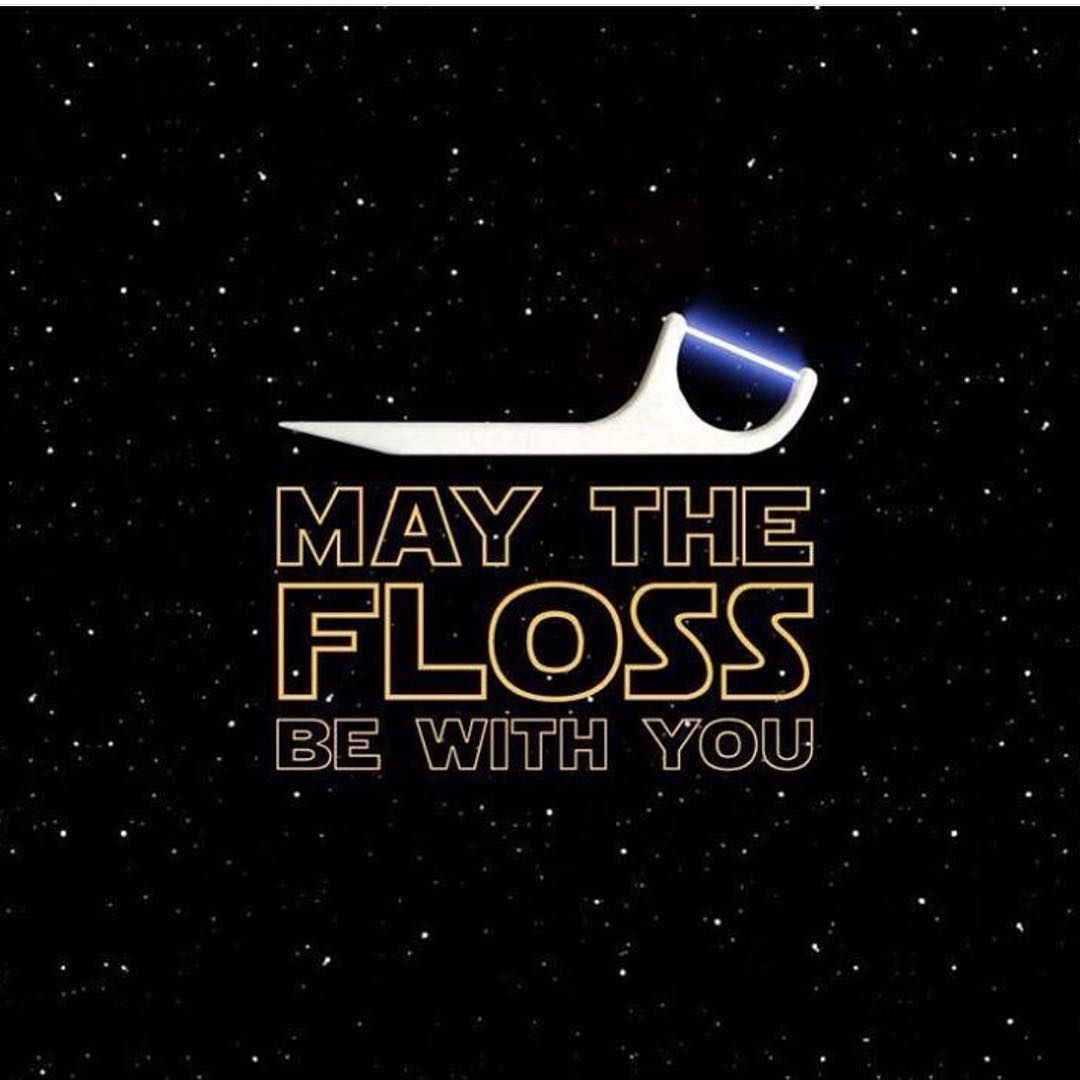 Teeth Are Fun: Great Graphic, Even Better Idea! - #dentalhealth #freeconsultation #holisticdentist #paigewoods #sandiegodentist #starwars - 	Who doesn't like to see a Star Wars image? And this starry graphic is in support of a stellar idea: Carry floss or floss picks with you everywhere you go to make sure you can clean away annoying debris immediately. To see if it's time for a pro dental cleaning, call for your free oral health consultation. We're here at Brighton Dental in San Diego, (619) 35