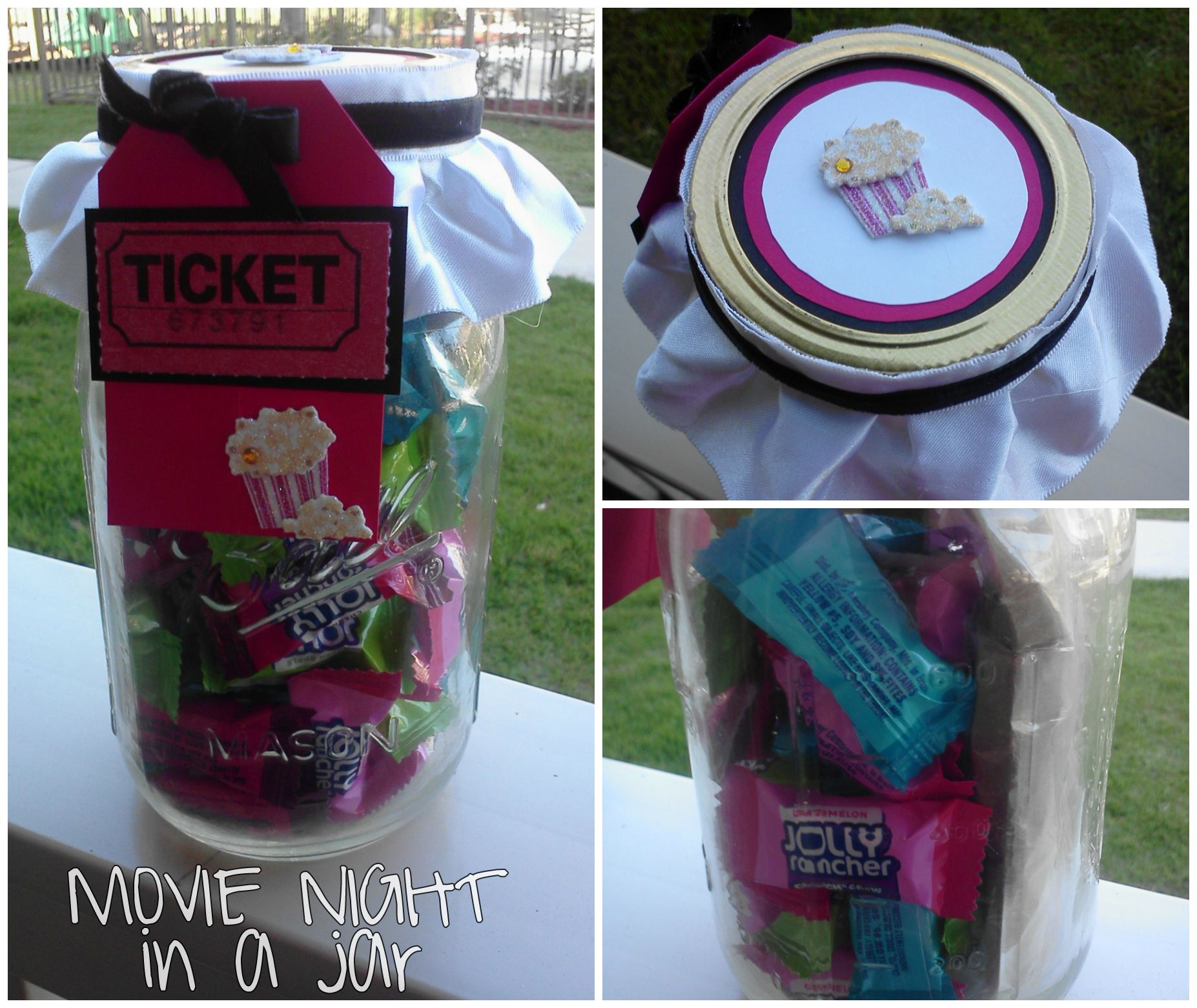Movie Night In A Mason Jar Gift Idea Mason Jar Christmas Gifts Diy Jar Crafts Mason Jar Crafts Diy