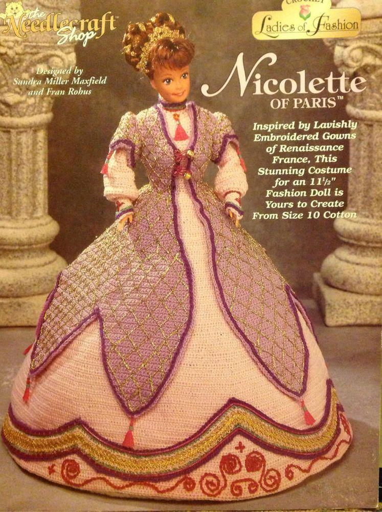 "Vintage Barbie Doll Crochet Pattern Nicolette of Paris 11 1/2"" Fashion Doll gown"