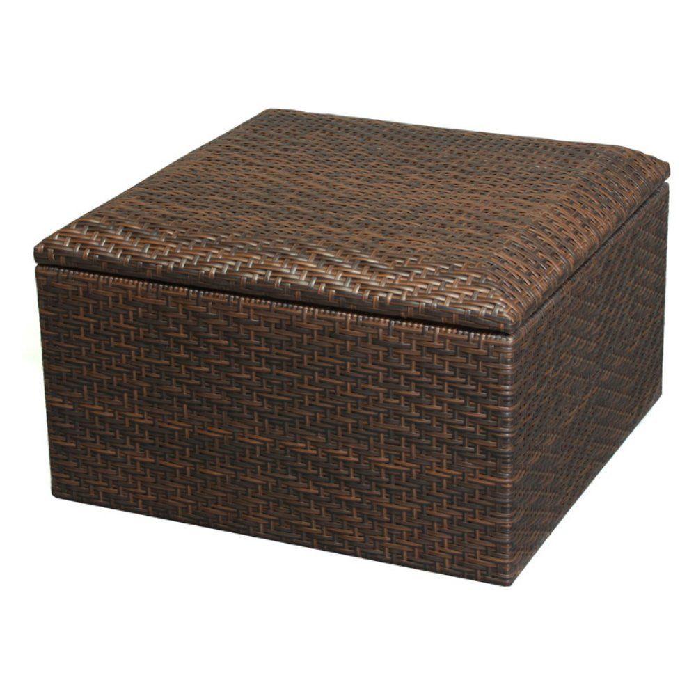 Best Selling Wicker Brown Indoor Outdoor Storage Ottoman Small
