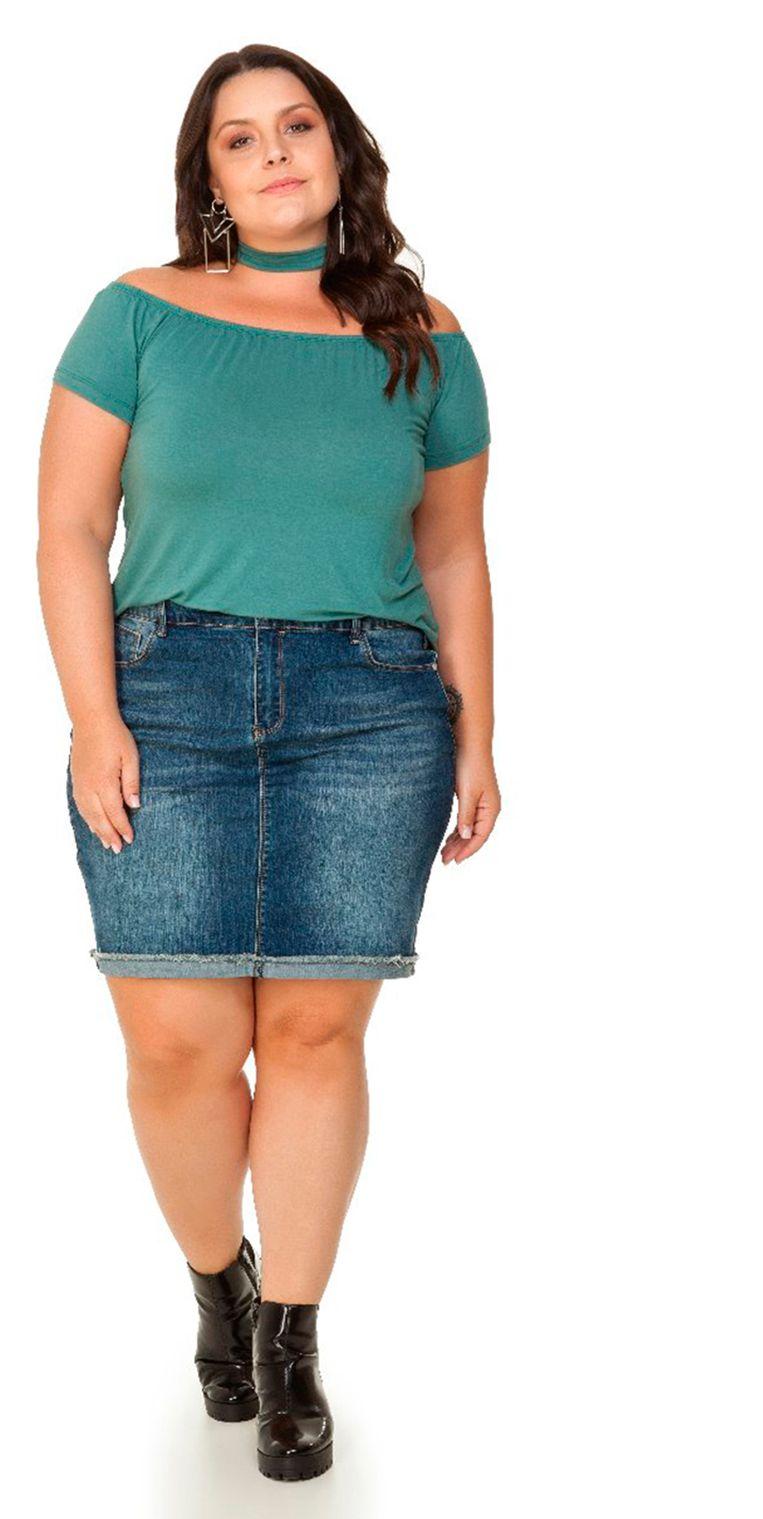 b1e6e4e4e1 Blusa Viscolycra Verde Ombro a Ombro Miss Masy Plus.  modaplussize   roupasplussize  roupasfemininas