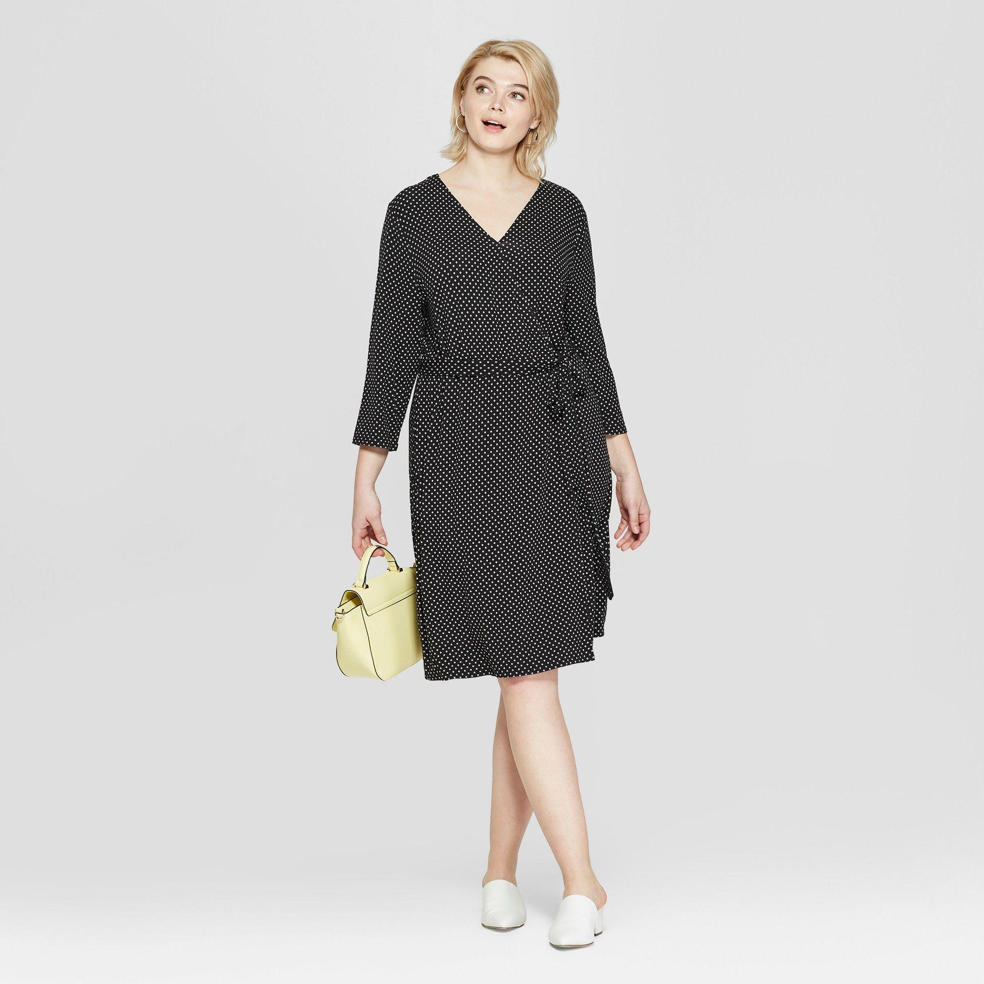 Women S Plus Size Polka Dot 3 4 Sleeve Wrap Midi Dress Ava Viv Black White 3x Wrap Midi Dress Knit Wrap Dress Turtleneck Midi Dress [ 2000 x 2000 Pixel ]