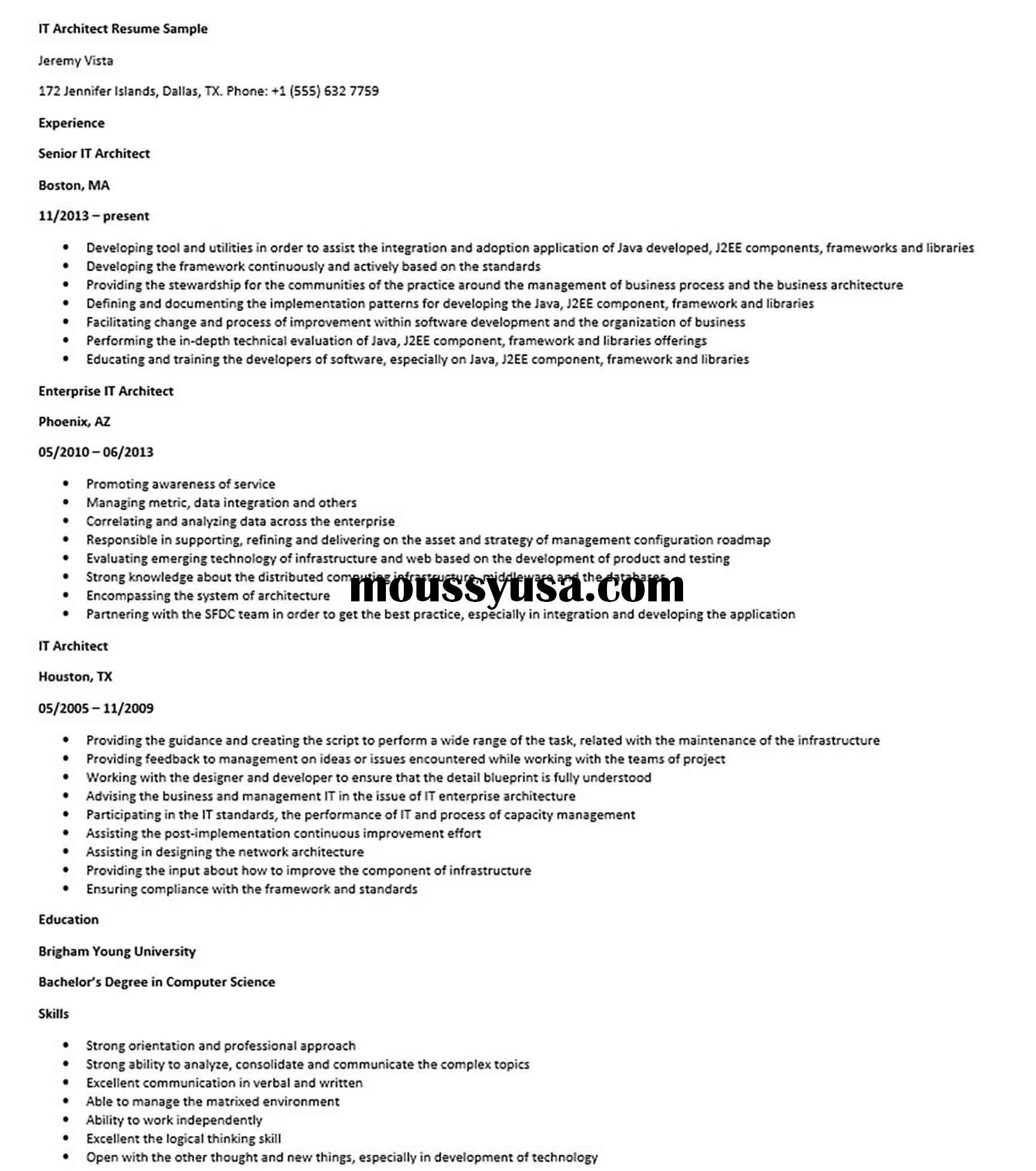 It Architect Resume Sample Architect Resume Sample Architect Resume Resume