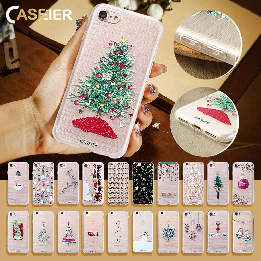 CASEIER Christmas Phone Case For iPhone 6 6s Plus Lovely Relief ...
