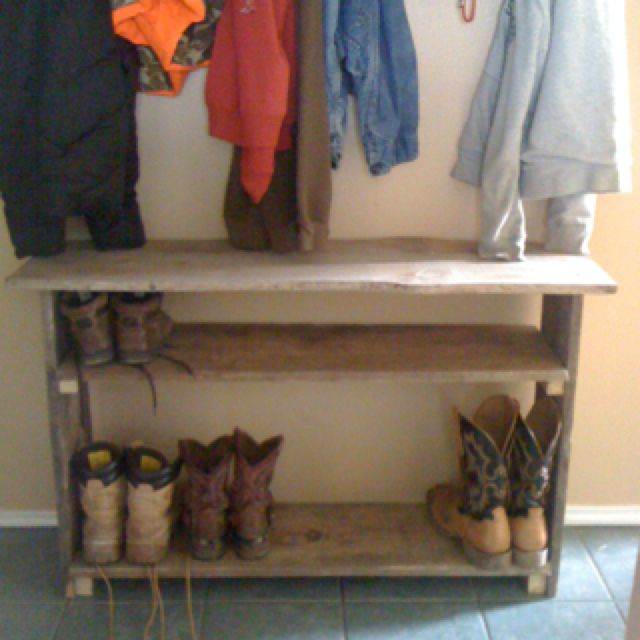 Reclaimed Barn Wood Boot Shelf Desired DIY Projects And Other Odds amp Ends Pinterest