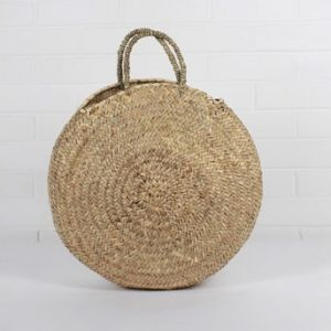 Grand Panier Rond En Osier Things Round Straw Bag