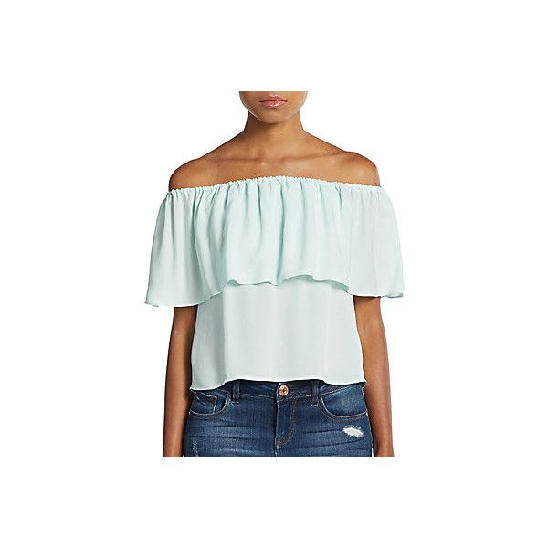 Rebecca Minkoff Dev Silk Chiffon Off-The-Shoulder Top ($60) ❤ liked on Polyvore featuring tops, sweater pullover, rebecca minkoff, rebecca minkoff top, off shoulder top and flutter top