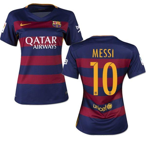 Lionel Messi Women's Away Soccer Jersey 15/16 Barcelona #10