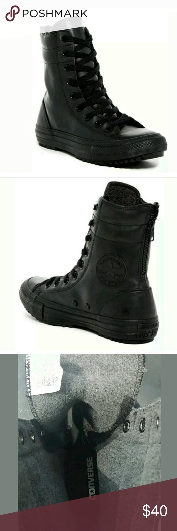 0b10eee426 NWT CONVERSE Black Rubber Moto Combat Rain Boot New in box  CONVERSE Black  Rubber Moto