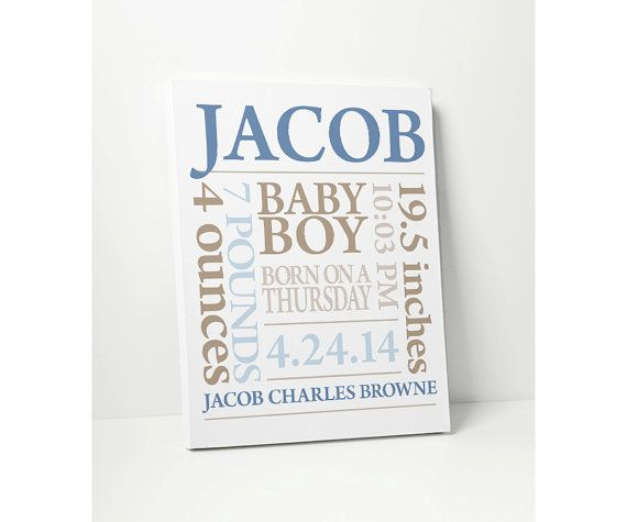 Canvas print baby boy gift personalized nursery art with baby canvas print baby boy gift personalized nursery art with baby name birthdate in blue khaki negle