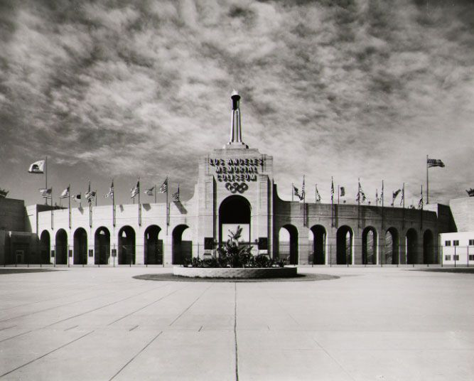 La Coliseum East Plaza In Bw Circa 1950 S University Of Southern California Los Angeles Ferry Building San Francisco