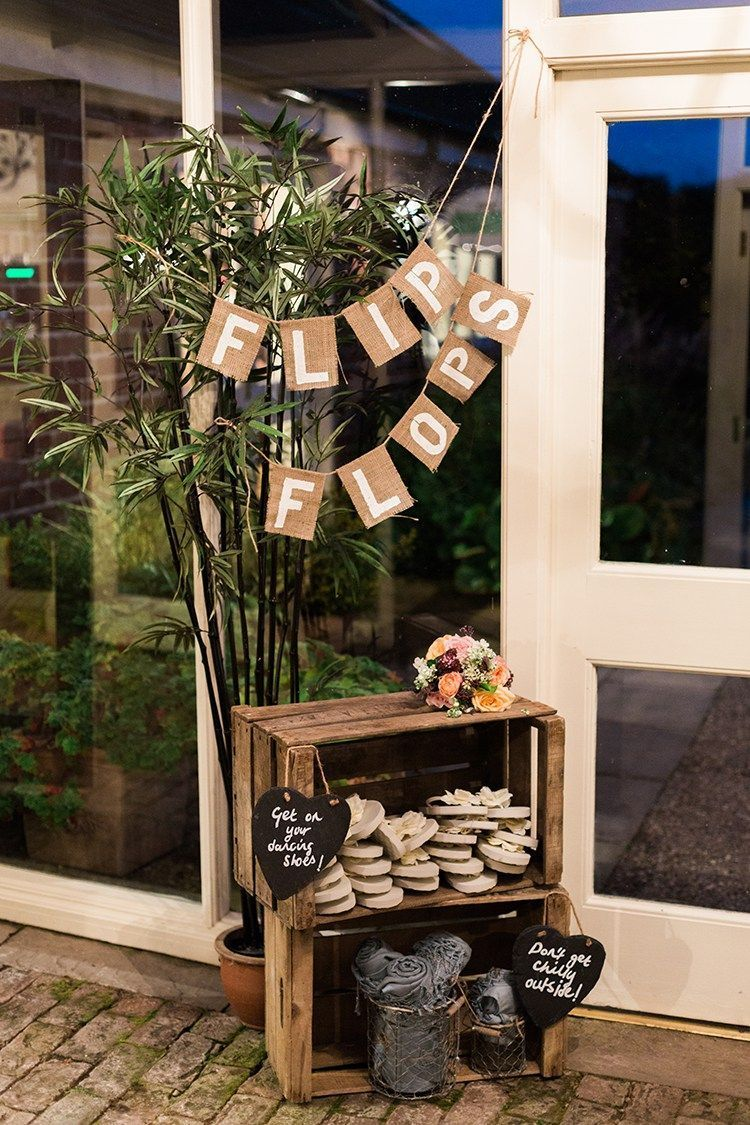Beach wedding decoration ideas diy  Cute beach wedding decoration idea  a flip flop station Love the