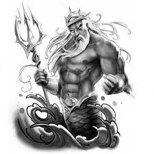 Poseidon Poseidon Tattoo Style Griechisches