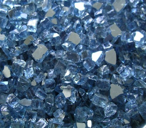 "4 LBS 1//4/"" Pacific Blue Reflective Fireglass Fireplace Glass Fire Pit Crystals"