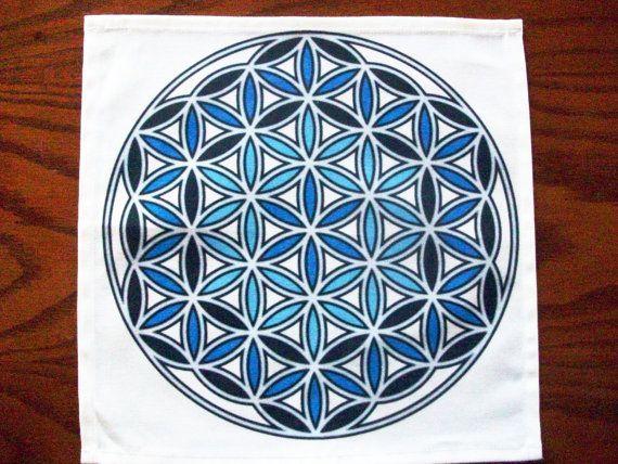 Archangel Raphael 4 Crystal Grid Cloth Blue Flower of Life Symbol Throat Chakra Grid Templa Archangel Raphael 4 Crystal Grid Cloth Blue Flower of Life Symbol Throat Chakr...
