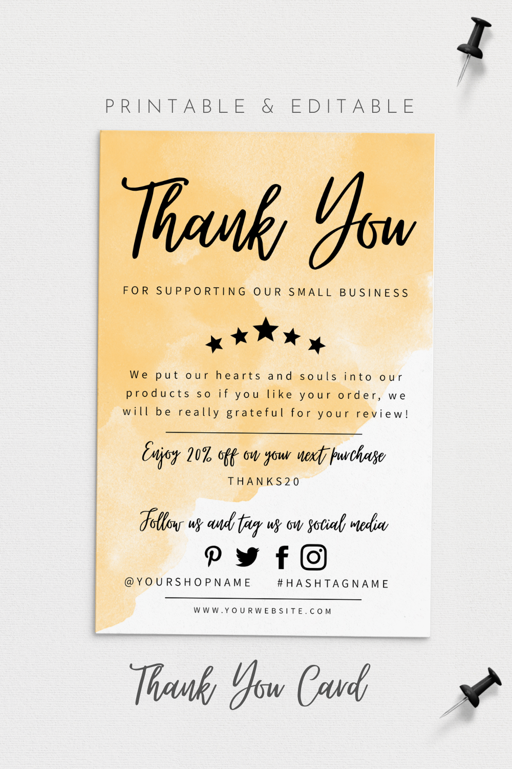 Thank You For Your Order Card Modern Business Insert Card Template Printable Thank Yo Thank You Card Design Business Thank You Cards Business Thank You Notes