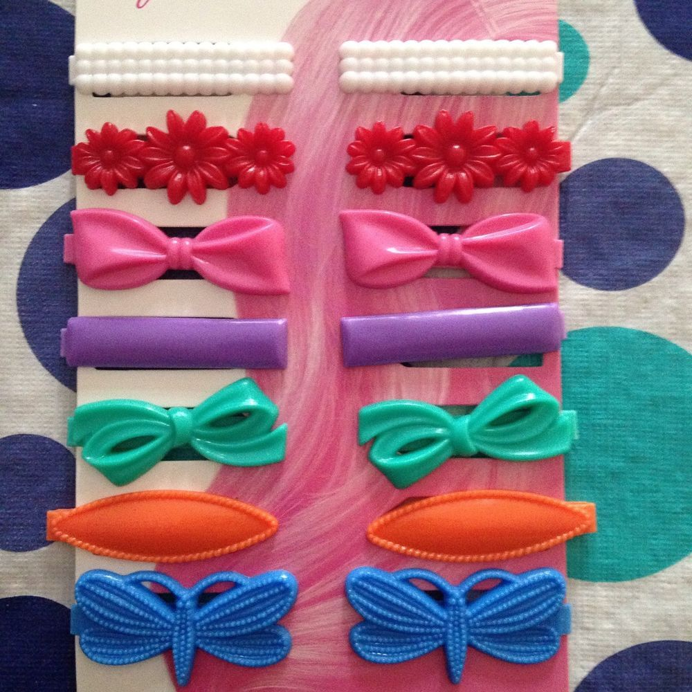 New Goody Girls 14 Vintage Style Barrettes Snap Tight