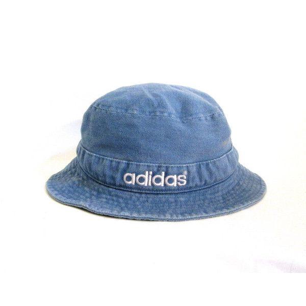 Club Kid 90s Adidas Denim Bucket Hat ( 10) ❤ liked on Polyvore featuring  hats fa079801555