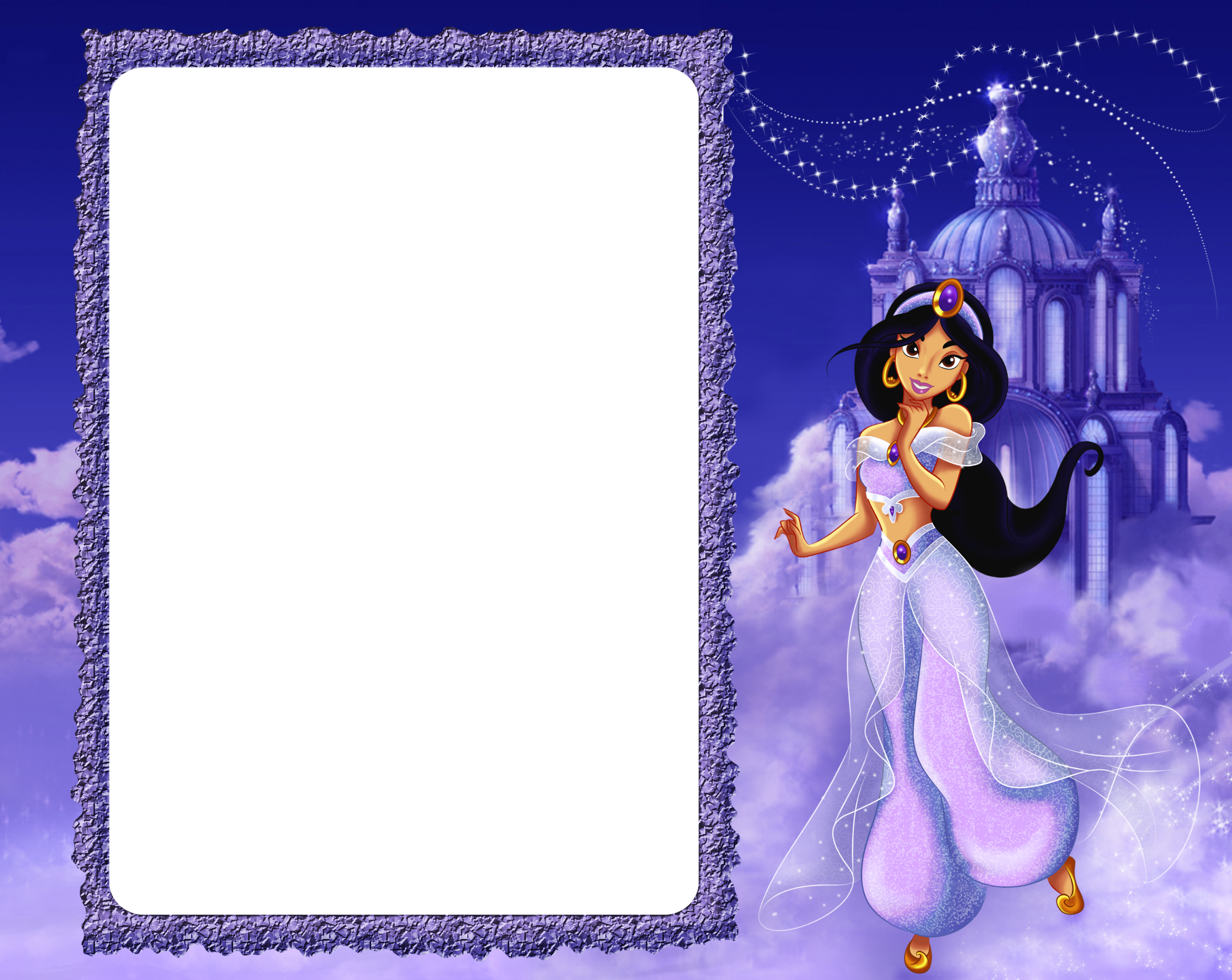 Princess Jasmine in Clouds Kids PNG Frame | rame | Pinterest ...