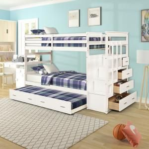 White Twin Over Bunk Bed With Trundle And Drawers