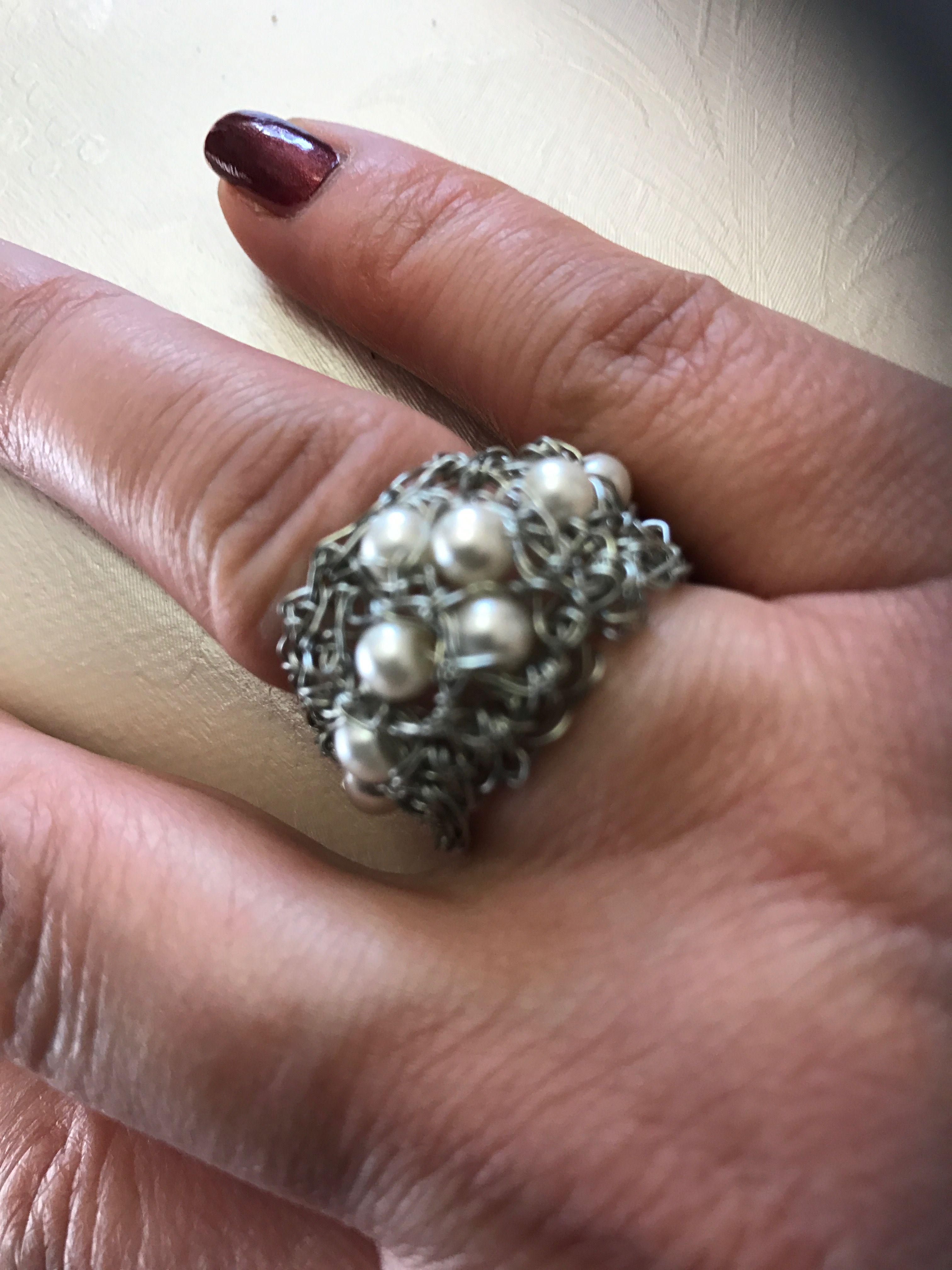 Ring mit Perlen und aludraht geschtrick | Ringe | Pinterest ...