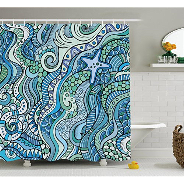 Blue Shower Curtain by Ambesonne, Underwater Wildlife Inspiration ...