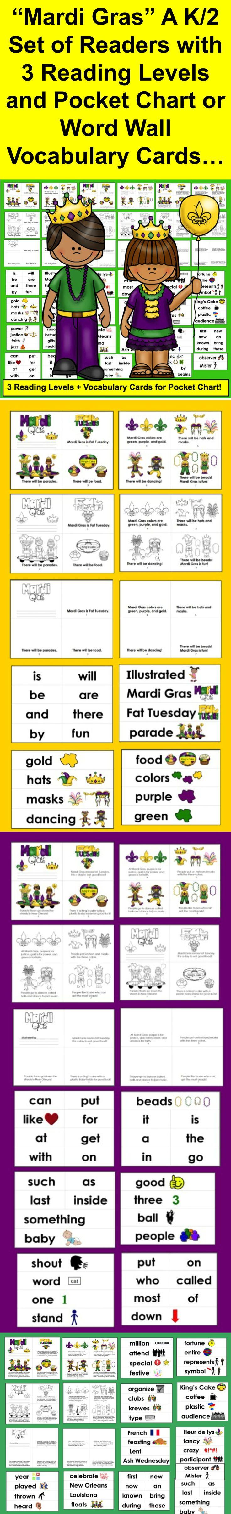 Mardi Gras Activities: Mini Books - 3 Levels + Illustrated Word Wall ...