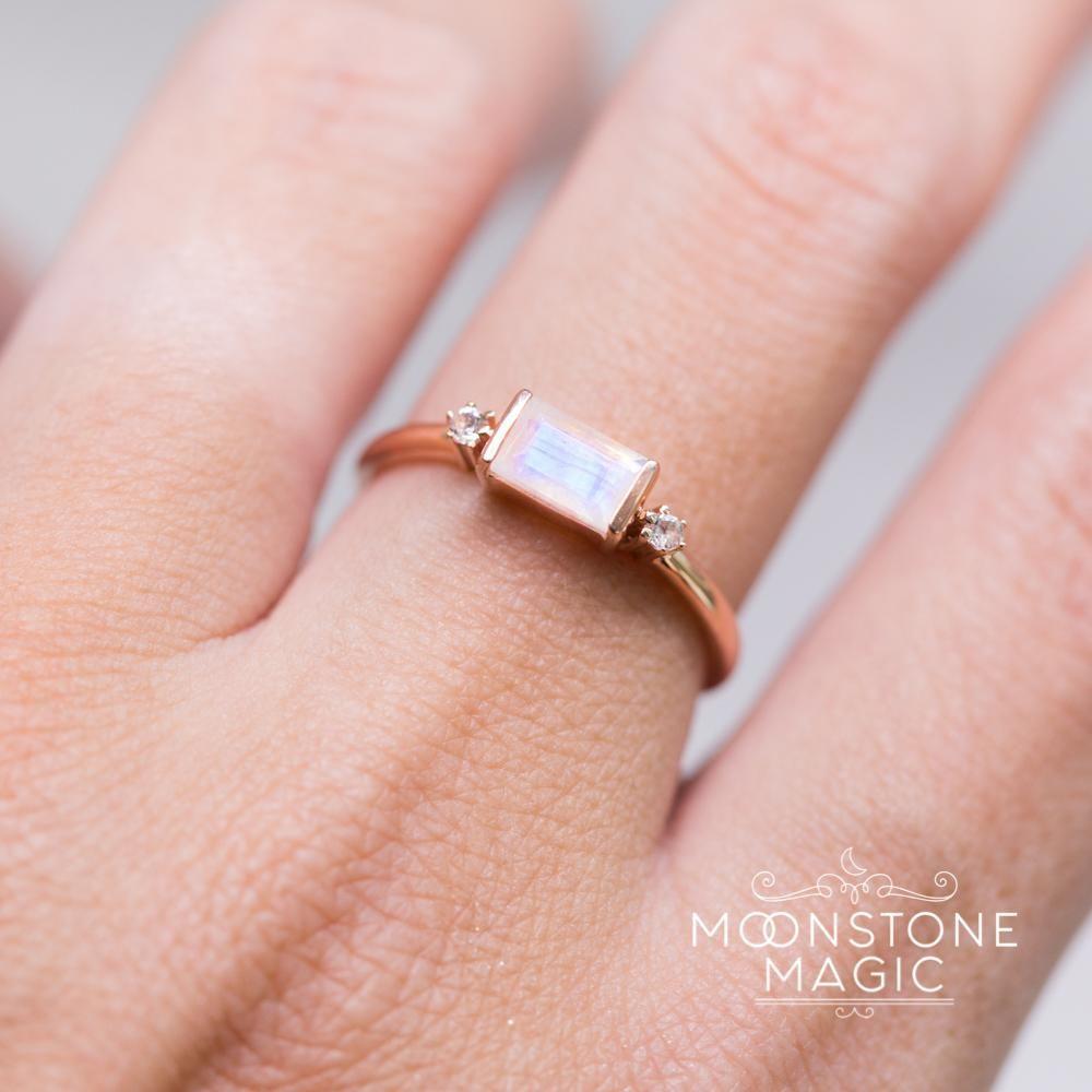 14kt Rosé Gold Vermeil Moonstone Ring - Poshness | Moonstones ...
