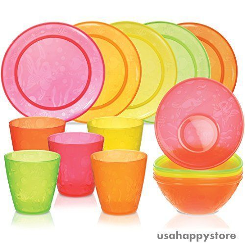Munchkin Feeding Set 15 Piece Cup Plate Bowl Plastic Dinnerware Kids Dishes BPA  sc 1 st  Pinterest & Munchkin Feeding Set 15 Piece Cup Plate Bowl Plastic Dinnerware Kids ...