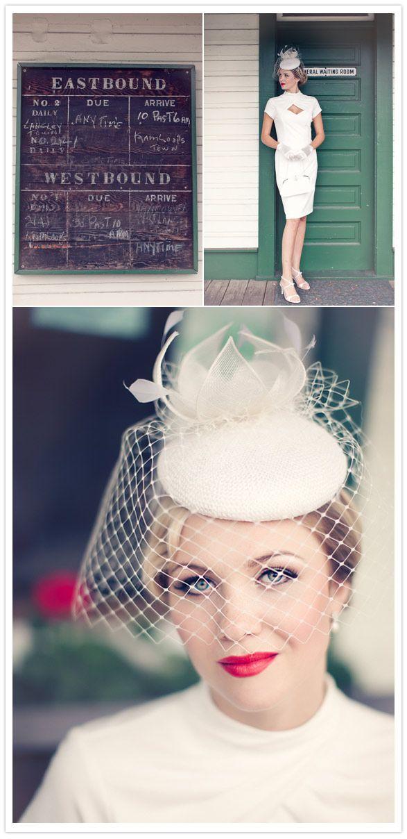 36e3fa17 Hollywood Glamour Wedding Shoot...cute, looks retro , love the hat ...