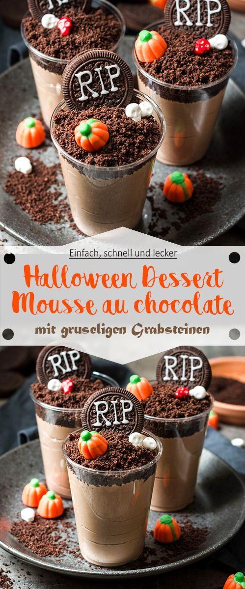 Halloween Dessert: Gruselige Grabstein Mousse au chocolate