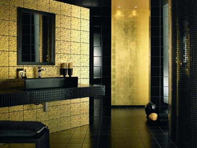 Gold Tile Bathroom