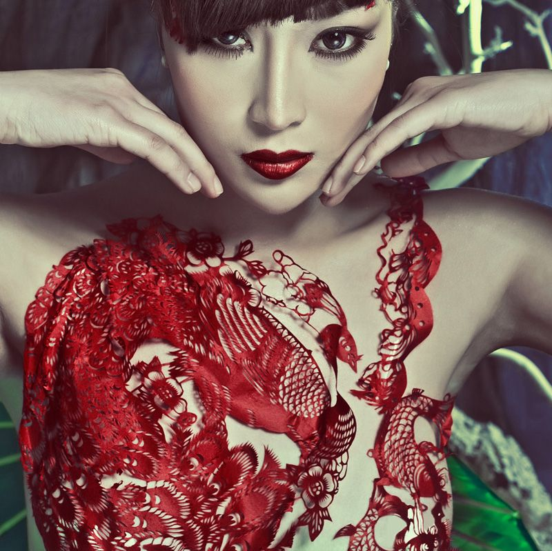 Red paper cut dress. Tradition + Fashion