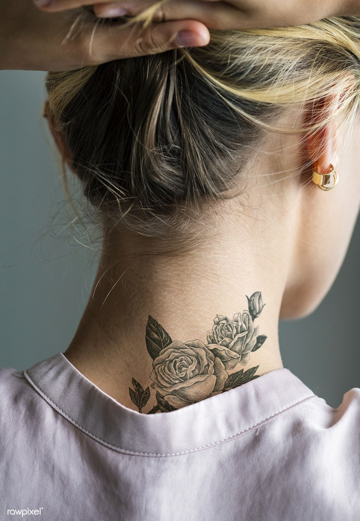 Back Neck Tattoo Of A Woman Premium Image By Rawpixel Com Back Of Neck Tattoo Best Neck Tattoos Neck Tattoos Women