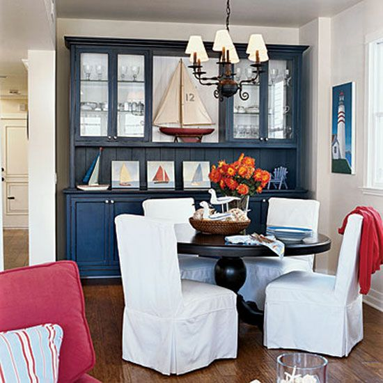 Decorating With Color Red White And Blue A Hutch Is The Focal Point In Dining Room Nautical Elements Patriotic Scheme