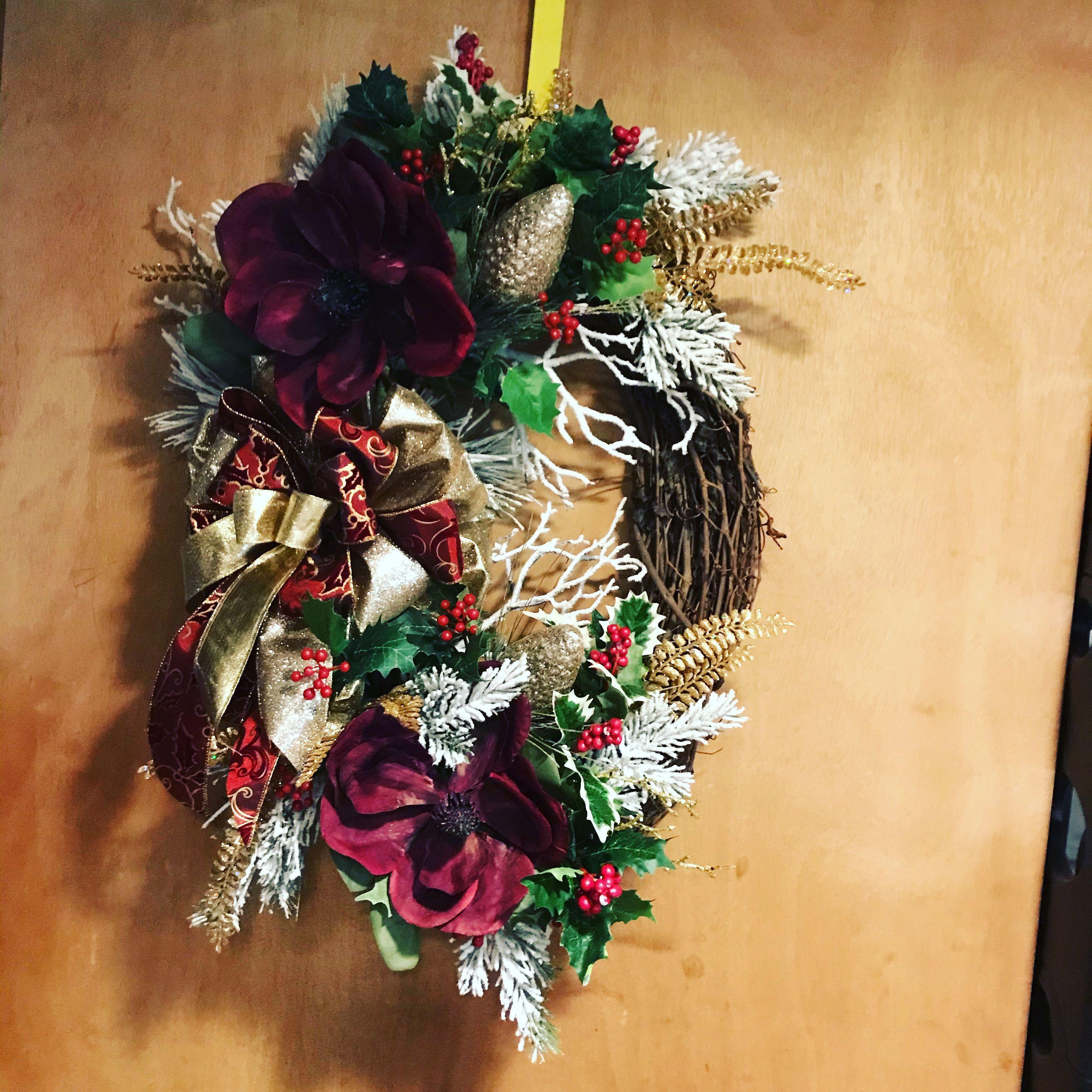 Photo of Christmas magnolia wreath , Christmas oval grapevine wreath. #magnoliachristmasd…