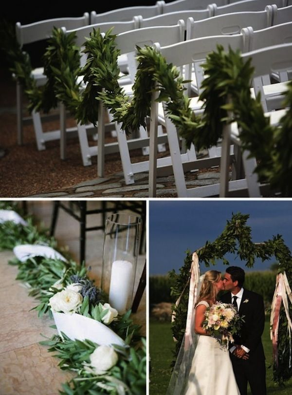 Wedding Ceremony Aisle With Evergreen Garland Decor
