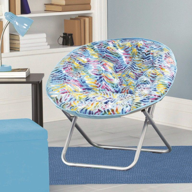 Saucer Chairs For Teens | Plush Saucer Chair   Turquoise Zebra