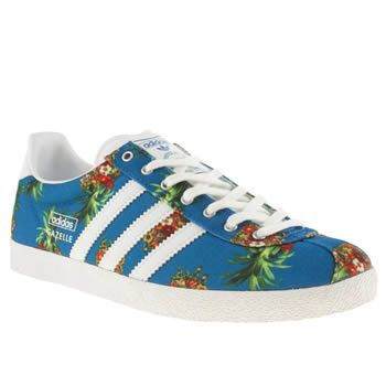 newest collection e65be 77354 Womens White  Blue Adidas Gazelle Og Iii Farm Brazil Trainers