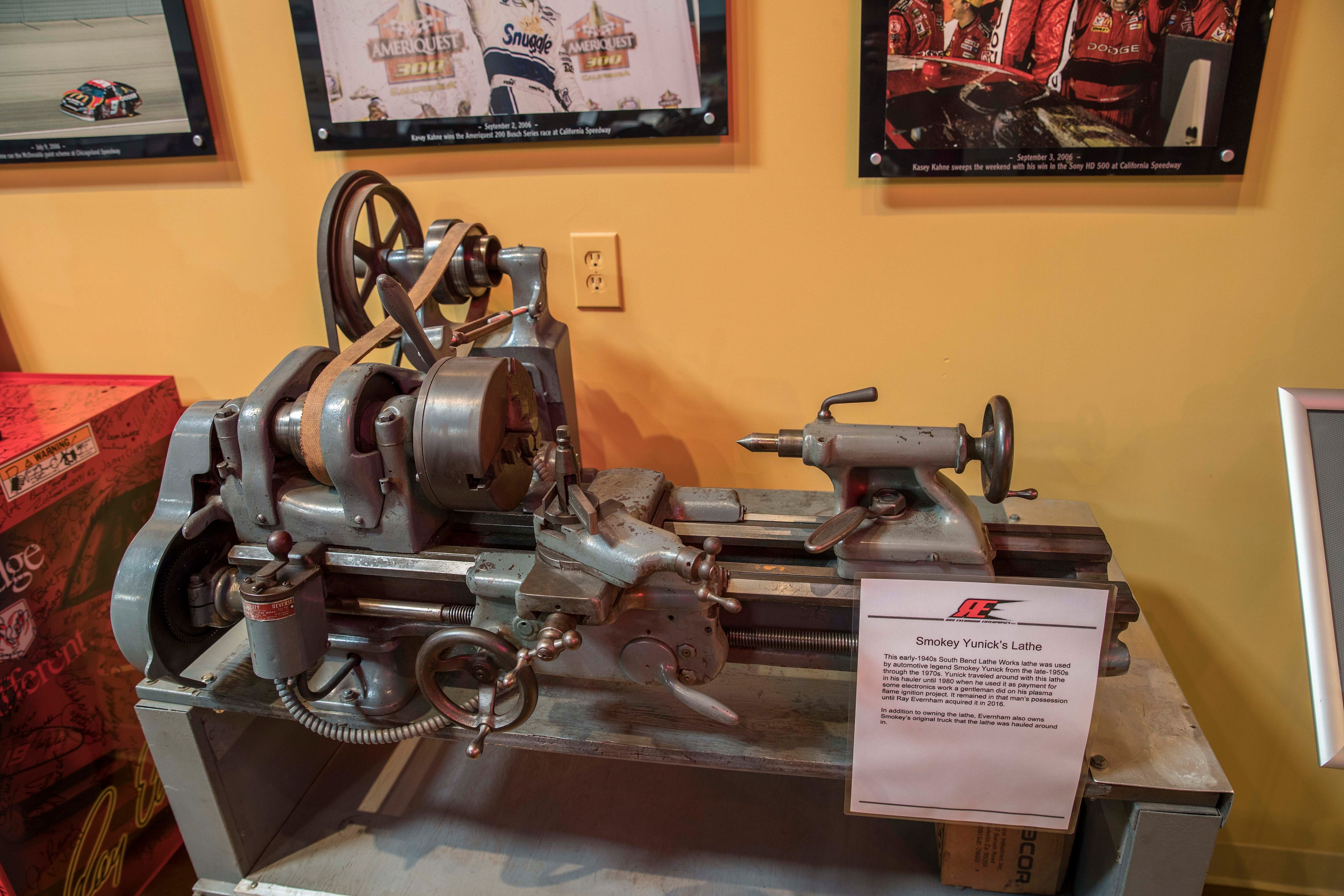 Smokey's South Bend lathe - from Ray Evernham's collection