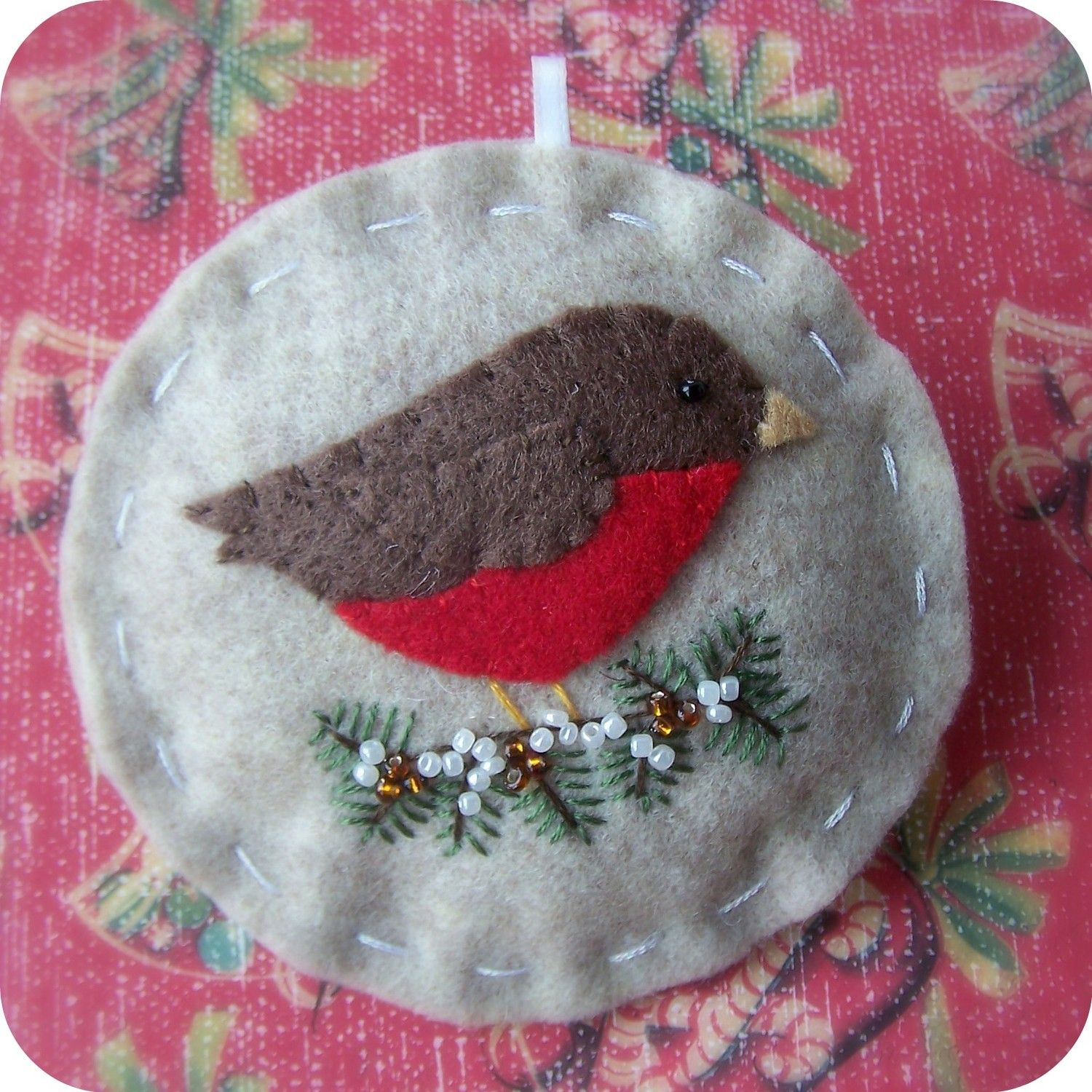 Holiday Robin Felt Christmas Ornament British