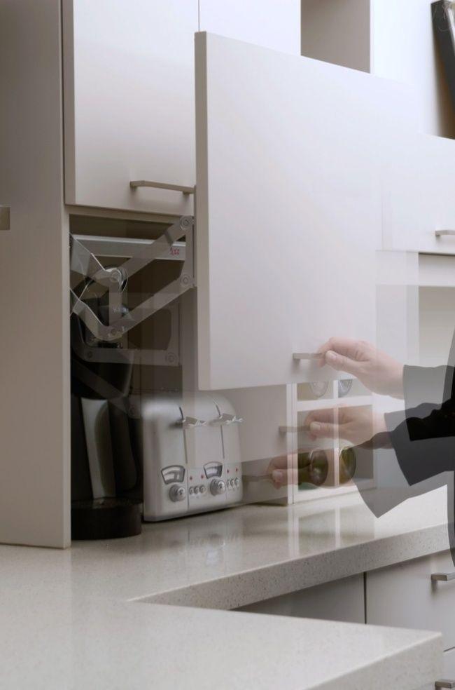 Ideen elektrogeräte in der küchenzeile verstecken garage tür