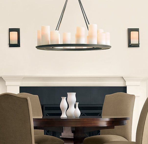 Pillar candle round chandelier 32 1095 restoration hardware rhs pillar candle round chandelier faux candles in different shapes and sizes create a welcoming ambience mozeypictures Image collections