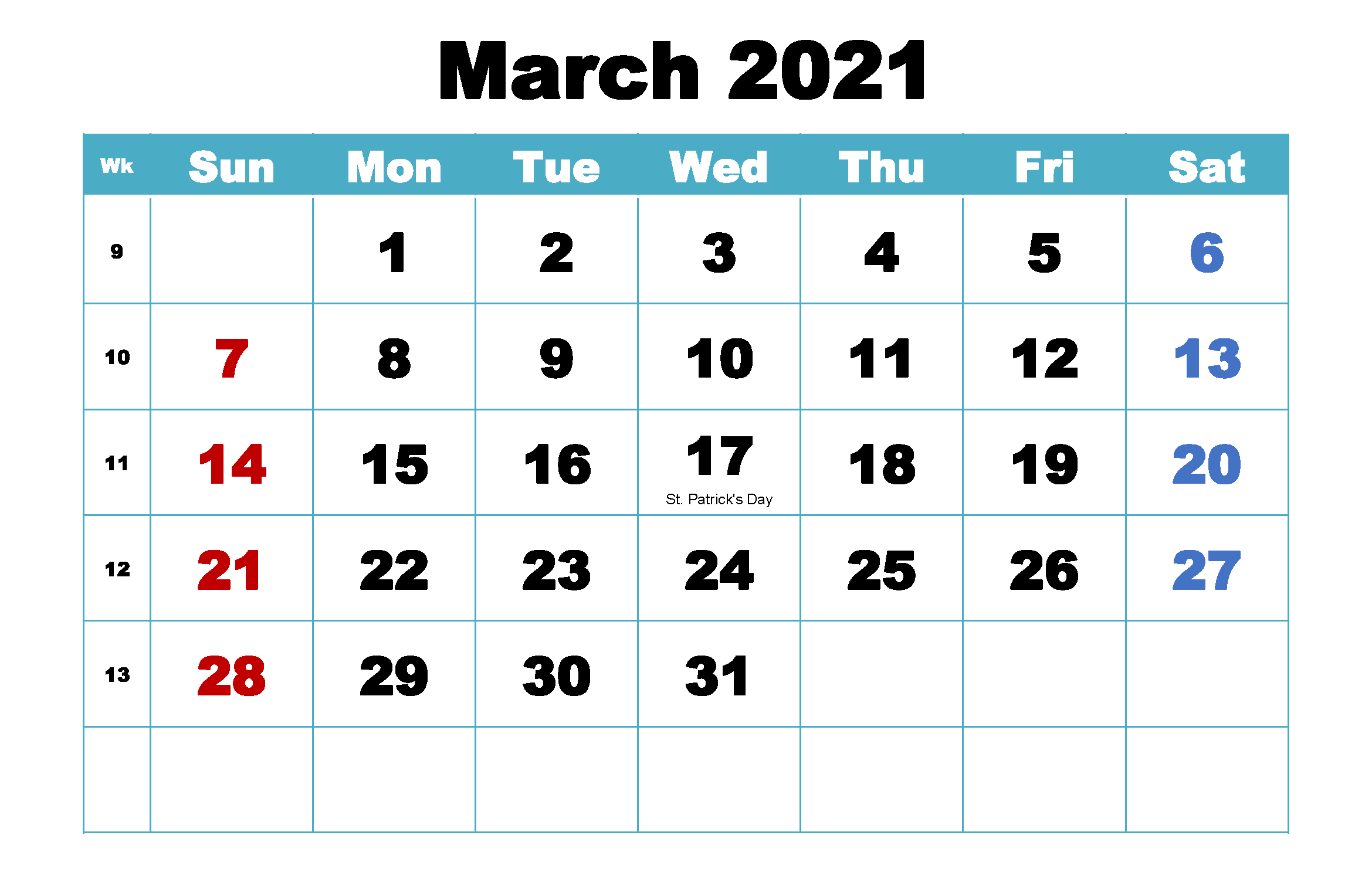 Calendar March 2021 With Holidays Wallpaper
